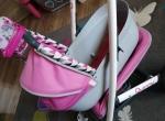 Zestaw wózek, krzesełko do karmienia i wanienka dla lalek