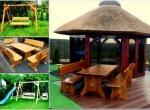 Meble ogrodowe, drewniane, barowe, huśtawki, stół,